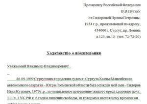 Прошение о помиловании президенту россии образец от жены
