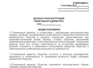 Должностная инструкция заместителя генерального директора по персоналу