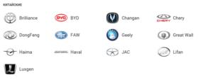 Значки китайских машин и их названия