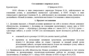 Образец соглашения о погашении долга по договору займа