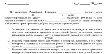 Решение единственного участника об одобрении крупной сделки 2018